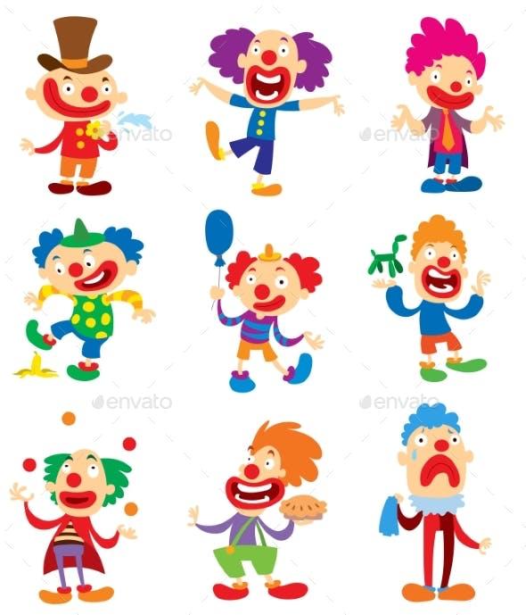 clown character vector performing different fun by vectorssstocker