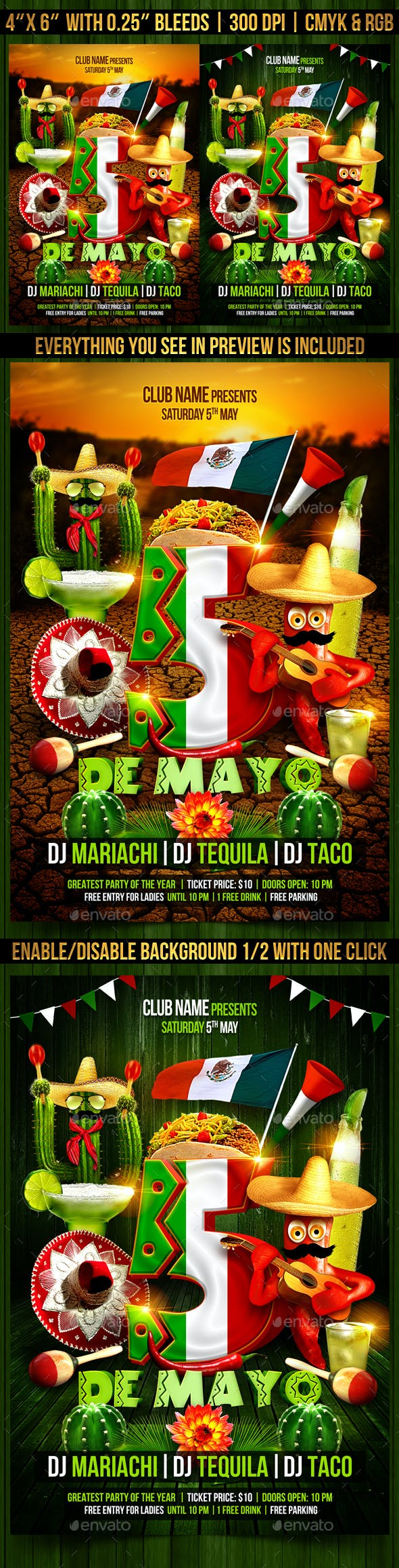 cinco de mayo flyer template by gugulanul graphicriver