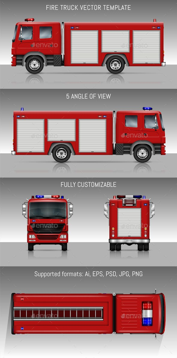 Fire Truck Vector Template By Yurischmidt Graphicriver