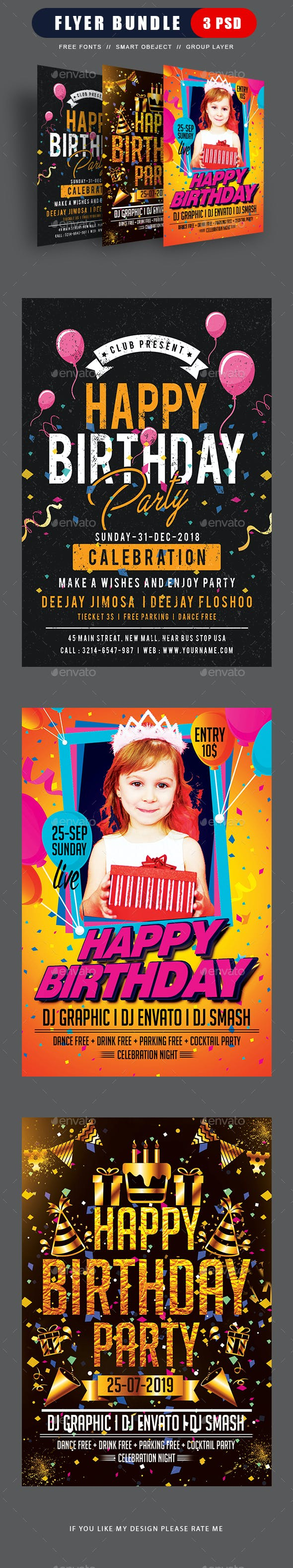 birthday flyer bundle by dhingra graphicriver