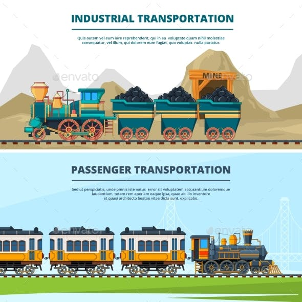 banners template with train illustrations by onyxprj graphicriver