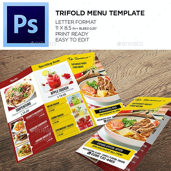 trifold menu graphics designs templates from graphicriver