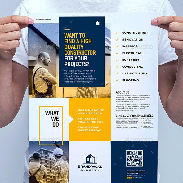 Psd business flyer templates from graphicriver page 7 construction poster template wajeb