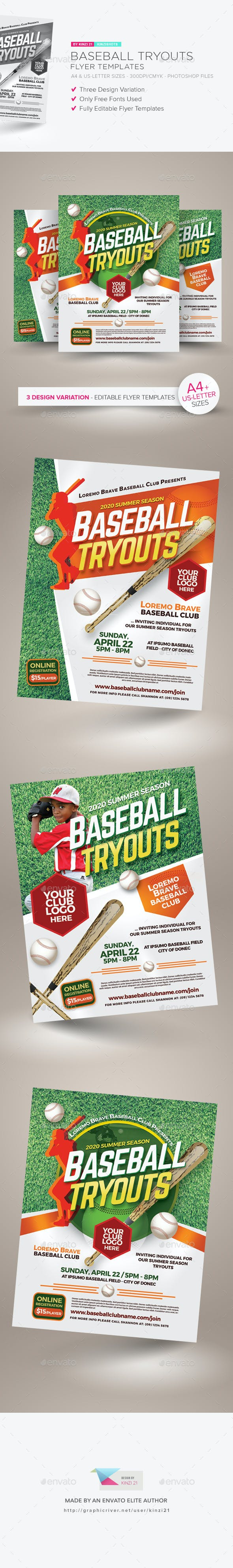 baseball tryouts flyer templates by kinzishots graphicriver
