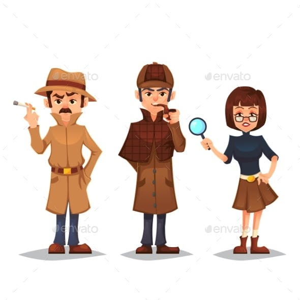 set of detective characters by polly grimm graphicriver
