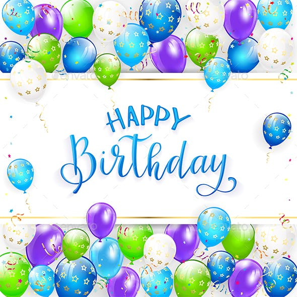 blue lettering happy birthday with balloons and streamers by losw