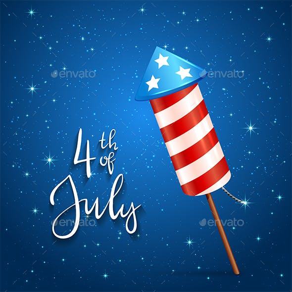 Firework And Text 4th Of July On Blue Background By Losw Graphicriver