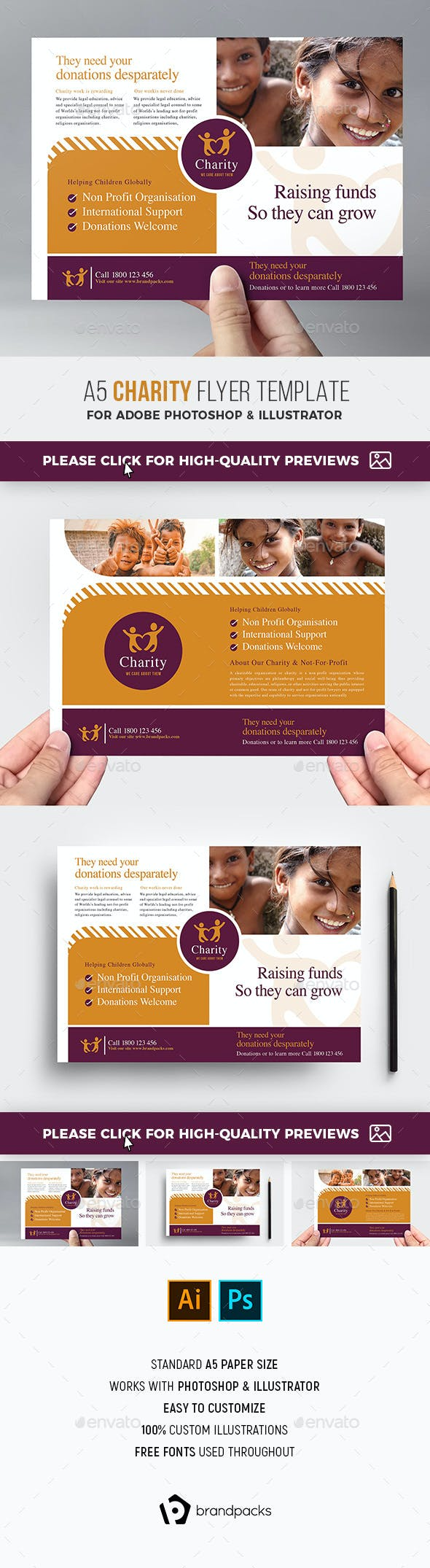 charity flyer template by brandpacks graphicriver