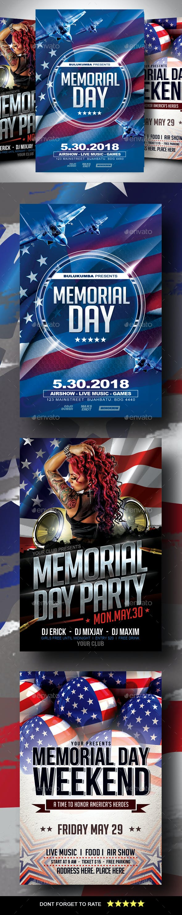 memorial day flyer bundle by ayumadesign graphicriver