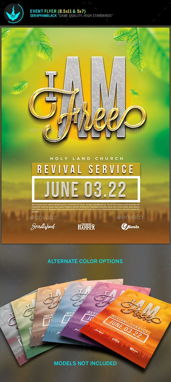 I Am Free Church Flyer Template By Seraphimblack Graphicriver