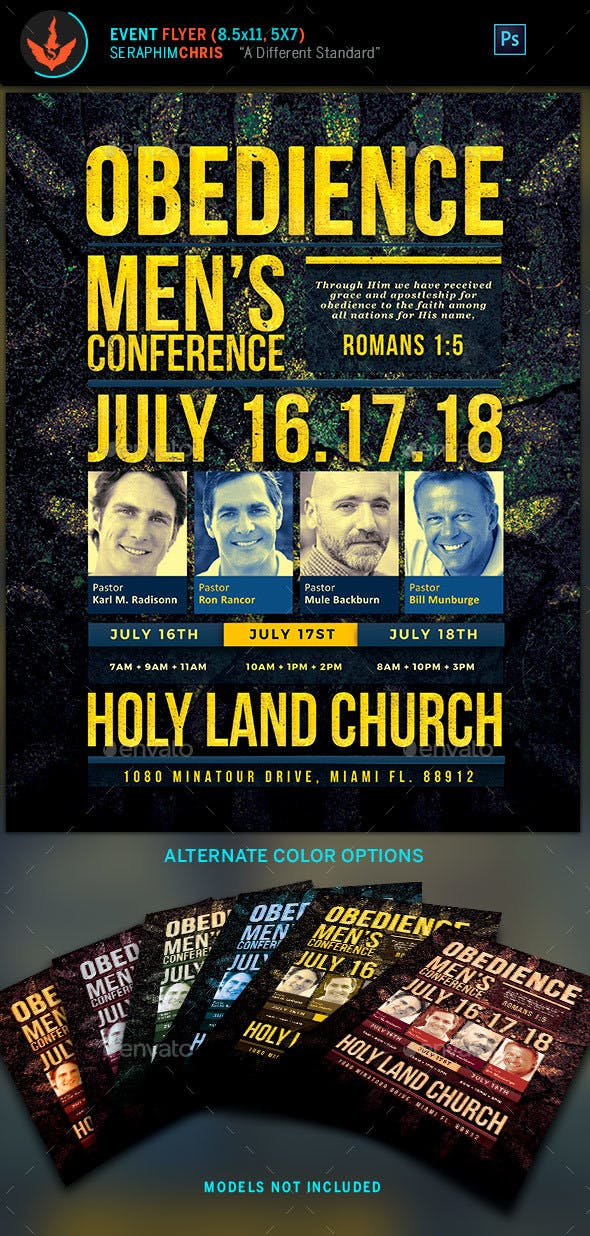 obedience men s conference church flyer template by seraphimchris