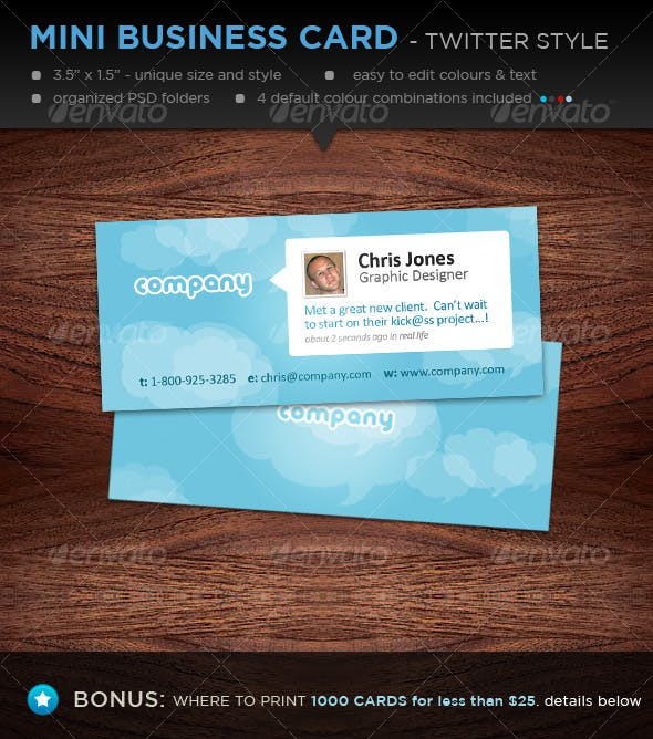 Mini Designer Business Cards Twitter Style By Davidfromafrica