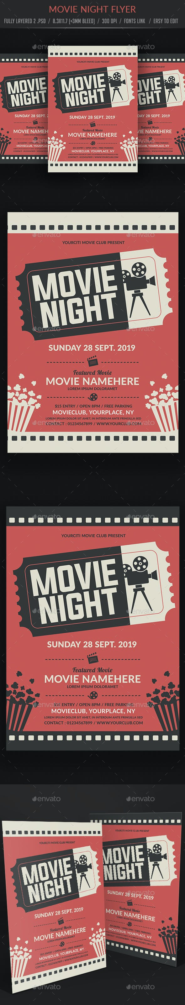 movie night flyer templates by artx2 graphicriver