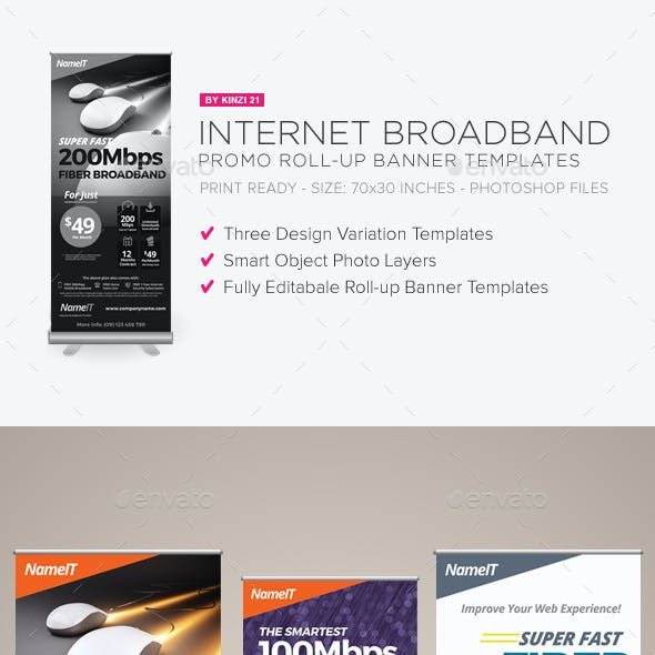 internet broadband promotion roll up banner templates by kinzi21