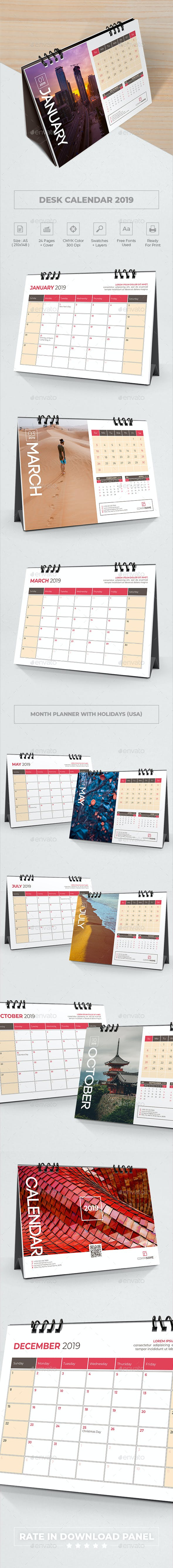 Desk Calendar Planner 2019 By Bourjart Graphicriver