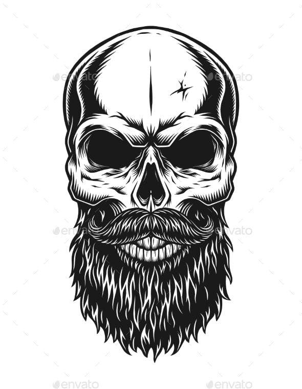 vintage trendy bald hipster skull template by imogi graphicriver