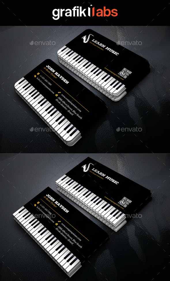 Creative Music Piano Business Card By Grafiklabs Graphicriver