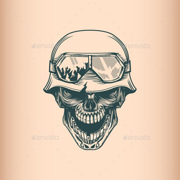 c38dc1b7f Vintage Skull Soldier in Helm by balanslava | GraphicRiver