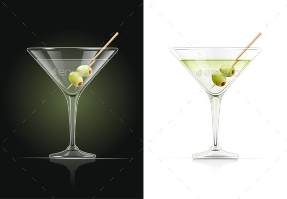 Martini Glass Cocktail With Olive By Aleksangel Graphicriver