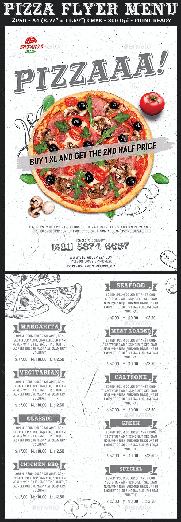 pizza flyer menu template by hotpin graphicriver