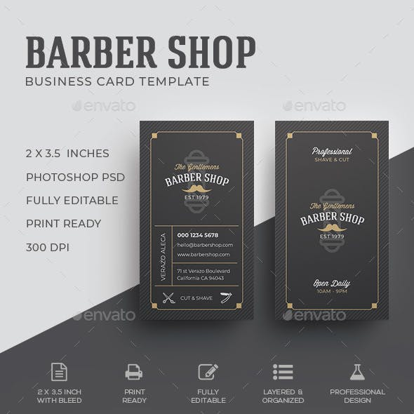 Vintage business card templates designs from graphicriver barber business card template reheart Images