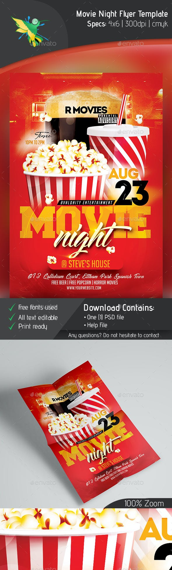 movie night flyer template by avalonity graphicriver