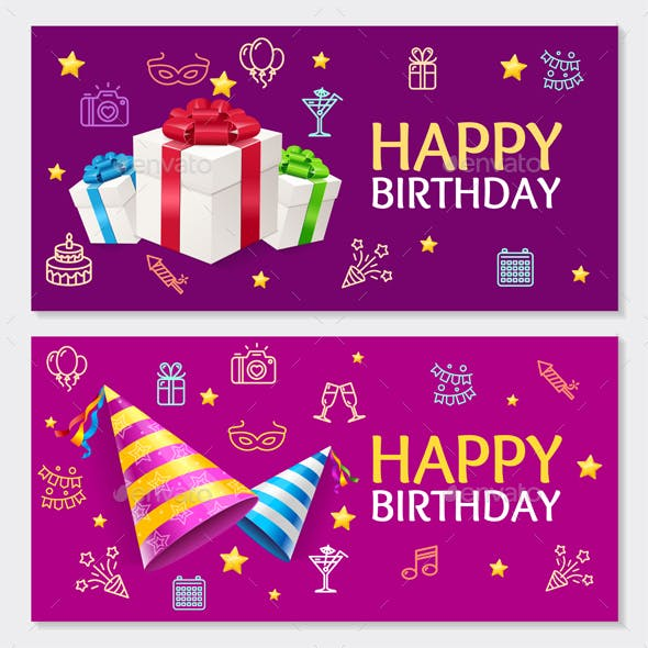 birthday banner card horizontal set by mousemd graphicriver