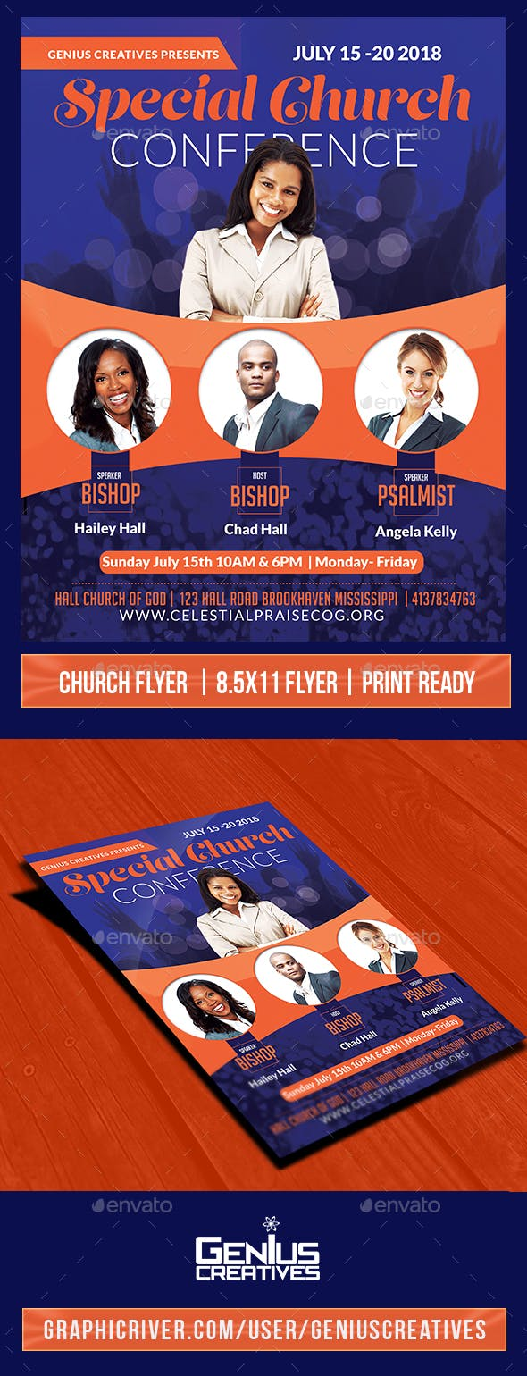 special church conference flyer by geniuscreatives graphicriver