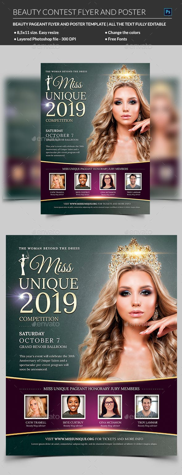 beauty contest flyer template