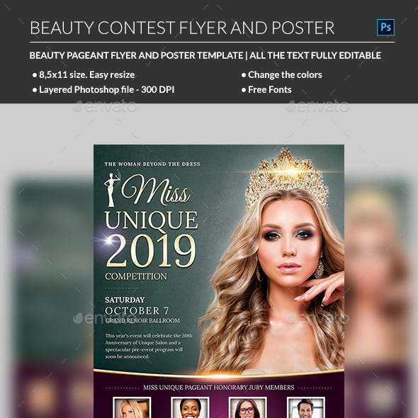 beauty contest flyer template by madridnyc graphicriver