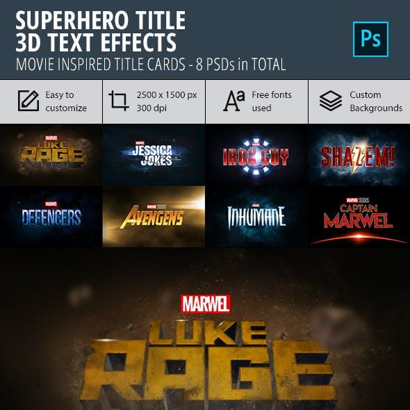 Superhero Title 3D Text Effect