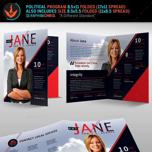 Election Brochure Template Graphics, Designs & Templates