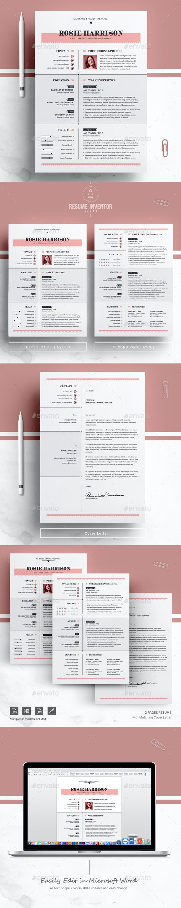 modern resume ms word apple pages cv template resumes stationery