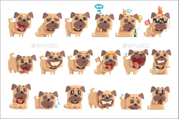 Little Pet Pug Dog Puppy With Collar Set Of Emoji By Topvectors