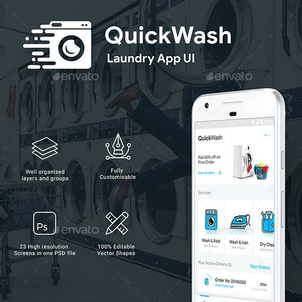 Laundry App Android PSD Graphics, Designs & Templates