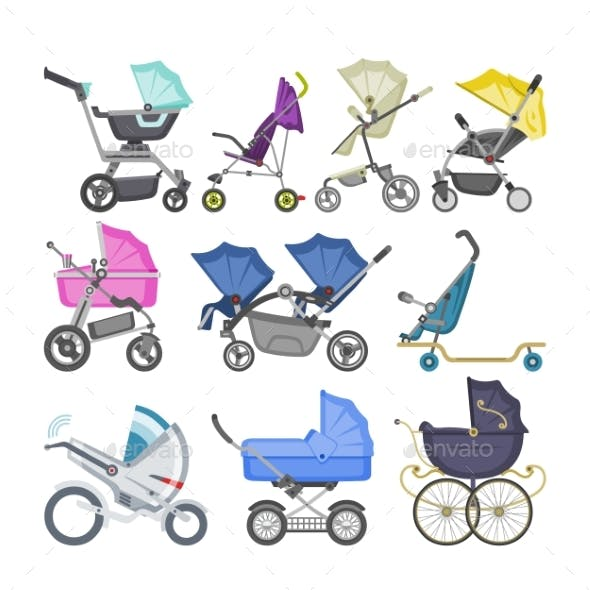 Baby buggy graphics designs template from graphicriver stroller vector baby stroller and kids buggy maxwellsz