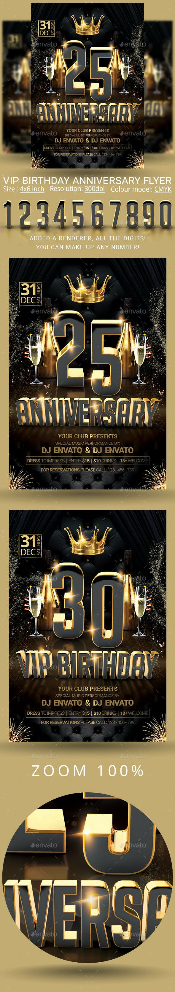 anniversary vip birthday party flyer by oloreon graphicriver