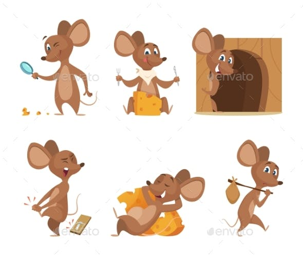 mouse character funny cartoon mice vector by onyxprj graphicriver