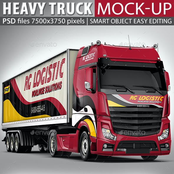 Semi Trailer Truck Mock Up Based Mercedes Actros