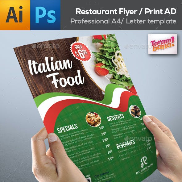 modern restaurant flyer templates from graphicriver
