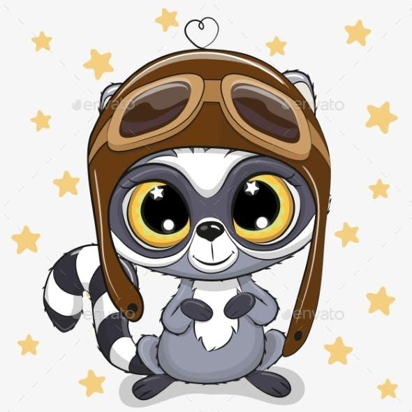 Cartoon Raccoon In A Pilot Hat
