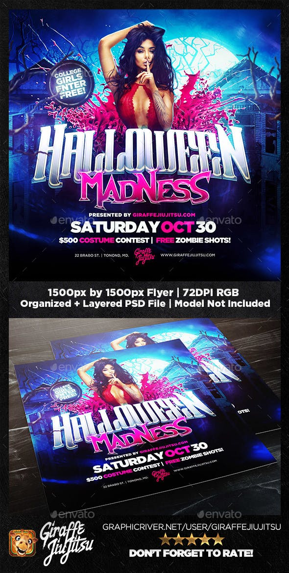 Halloween Madness Square Flyer Template By Giraffejiujitsu