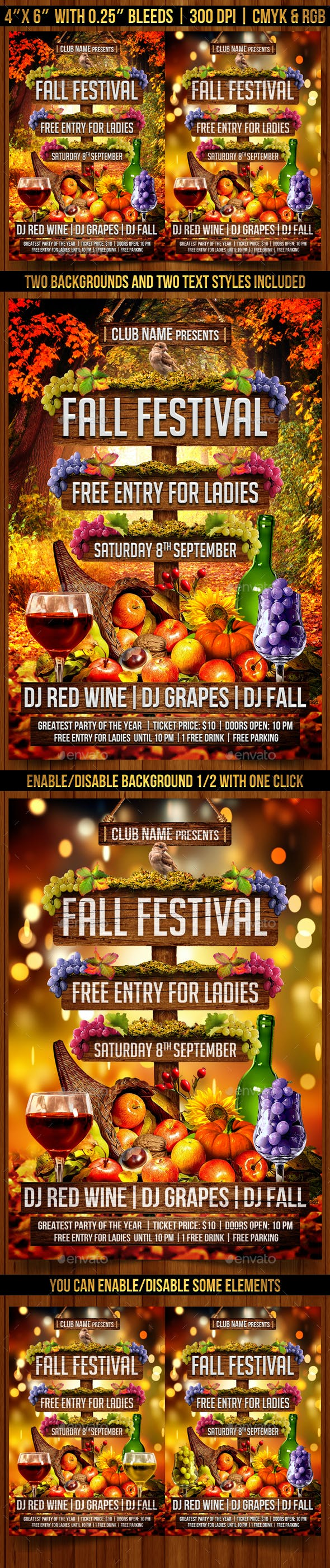 fall festival flyer template clubs parties events