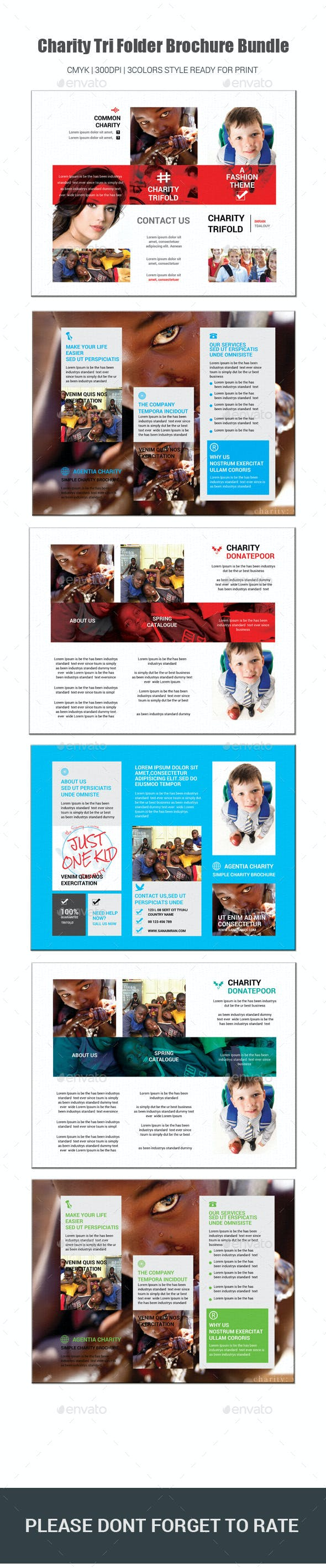 charity tri folder brochure bundle by sanaimran graphicriver