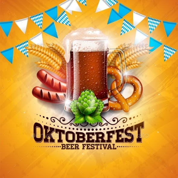 oktoberfest banner illustration with fresh beer by articular