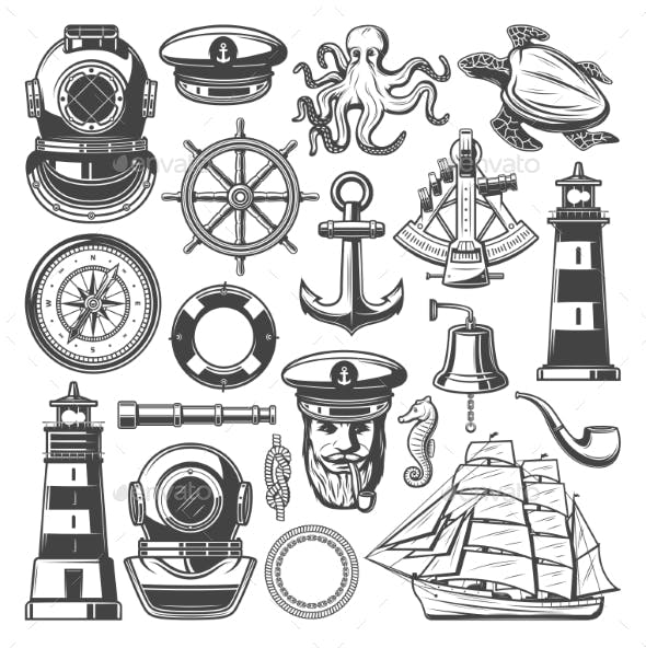 nautical symbols and marine sailing vector icons by vectortradition