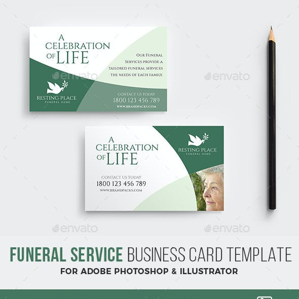 Industry specific business card templates from graphicriver funeral service business card template fbccfo Choice Image
