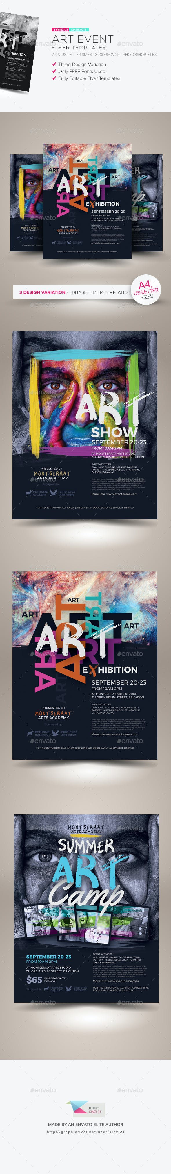 art event flyer templates by kinzishots graphicriver
