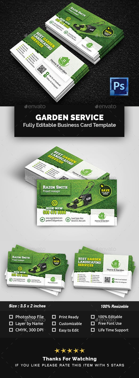 Garden Landscape Business Card Template By Creative Touch Graphicriver