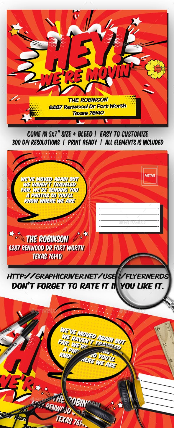 Comic Moving Announcements Card Template